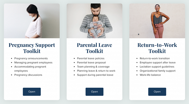 Manager Training Resource Center includes toolkits on pregnancy support, parental leave and return-to-work.