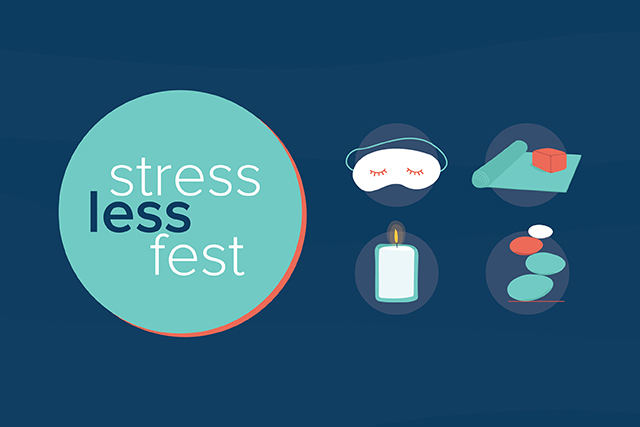 Digital graphic of candle, someone sleeping, a yoga mat, and other items that help reduce stress.